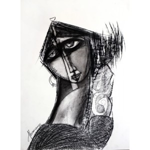 Abrar Ahmed, 16 x 22 Inch, Charcoal On Paper , Figurative Painting, AC-AA-121