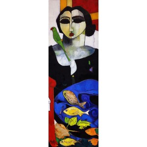 Abrar Ahmed, 12 x 36 Inch, Oil on Canvas, Figurative Painting, AC-AA-113