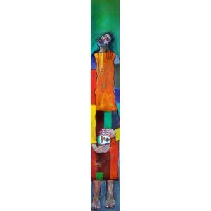 Farrukh Shahab, 8 x 54 Inch, Oil on Board,  Figurative Painting, AC-FS-011