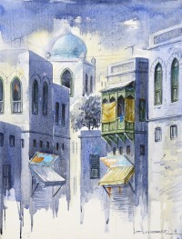 G. N. Qazi, 12 x 16 Inch, Acrylic on Canvas, Cityscape Painting, AC-GNQ-020