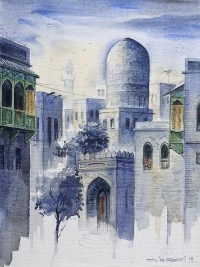 G. N. Qazi, 12 x 16 Inch, Oil on Canvas, Cityscape Painting, AC-GNQ-016