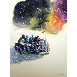 Hussain Chandio, Acrylic on Canvas, 36 x 48 Inch, Figurative Painting-AC-HC-011