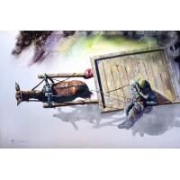 Hussain Chandio, Acrylic on Canvas, 43 x 66 Inch, Figurative Painting-AC-HC-018
