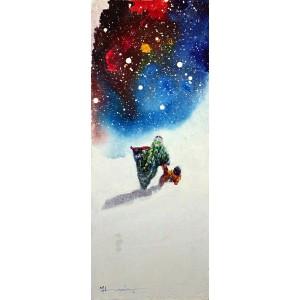 Hussain Chandio, Acrylic on Canvas, 12 x 30 Inch, Figurative Painting-AC-HC-021