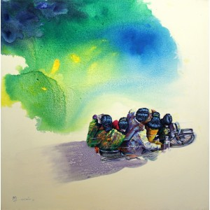 Hussain Chandio, Acrylic on Canvas, 36 x 36 Inch, Figurative Painting-AC-HC-031