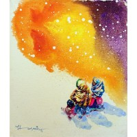 Hussain Chandio, Acrylic on Canvas, 12 x 14 Inch, Figurative Painting-AC-HC-044