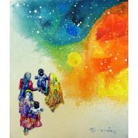 Hussain Chandio, Acrylic on Canvas, 12 x 14 Inch, Figurative Painting-AC-HC-045