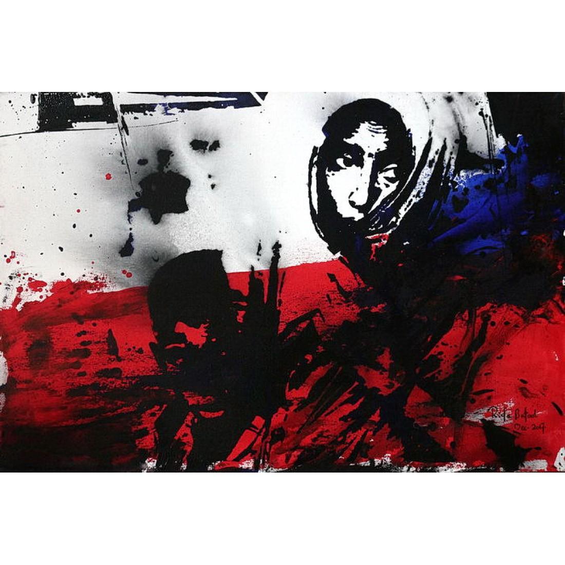rida kazmi the dukei express 20 x 30 inch acrylic on canvas
