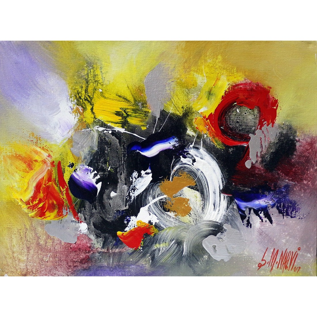 S M Naqvi Acrylic On Canvas 10 X 14 Inch Abstract Painting Ac Smn 038