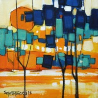 Salman Farooqi, 10 x 10 Inch, Acrylic on Canvas, Cityscape Painting-AC-SF-179