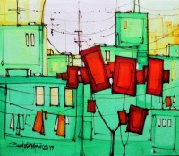 Salman Farooqi, 14 x 16 Inchc, Acrylic on Canvas, Cityscape Painting-AC-SF-112