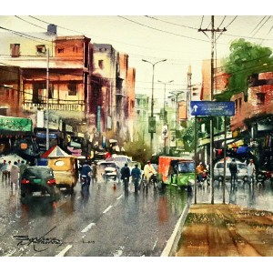 Sarfraz Musawir, Old Anarkali Lahore II, Watercolor, 15x17 Inch,Cityscape Painting