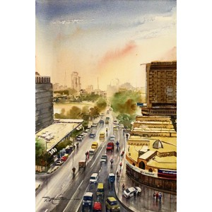 Sarfraz Musawir, Shahrah-e-Faisal Karachi, Watercolor, 15x22 Inch,Cityscape Painting