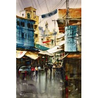 Sarfraz Musawir, Walled City Lahore II, Watercolor, 15x22 Inch,Cityscape Painting