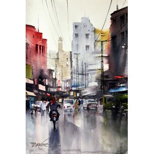 Sarfraz Musawir, Walled City Lahore III, Watercolor, 15x22 Inch,Cityscape Painting, AC-SAR-030(EXB-006)