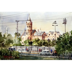 Sarfraz Musawir, G.C Lahore, Watercolor , 15x22 Inch,Cityscape  Painting
