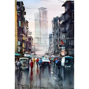 Sarfraz Musawir, MCB Building Karachi, Watercolor, 15x22 Inch,Cityscape Painting