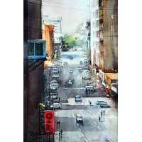 Sarfraz Musawir, Abdullah Haroon Road Karachi, Watercolor, 15 x 22 Inch,Cityscape  Painting, AC-SAR-035(EXB-011)