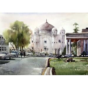 Sarfraz Musawir, Anarkali Tomb, Watercolor, 22x30 Inch,Cityscape Painting, AC-SAR-042(EXB-018)