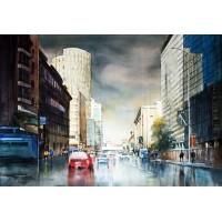 Sarfraz Musawir, Habib Bank Karachi I, Watercolor, 27x40 Inch,Cityscape Painting, AC-SAR-044(EXB-020)