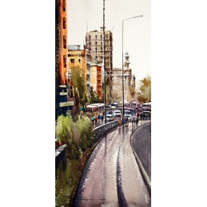 Sarfraz Musawir, Tower Karachi, Watercolor, 10x22 Inch,Cityscape Painting, AC-SAR-049(EXB-025)