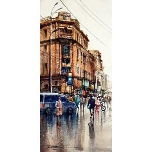Sarfraz Musawir, Shaikha House Bandar Road Karachi, Watercolor, 10x22 Inch, Cityscape Painting