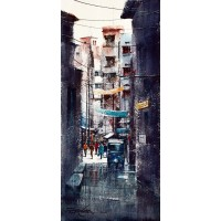 Sarfraz Musawir, Walled City Lahore VII, Watercolor, 10x22 Inch, Cityscape Painting