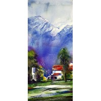 Sarfraz Musawir, Northern Pakistan I, Watercolor, 10x22 Inch, Cityscape Painting, AC-SAR-053(EXB-029)