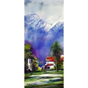 Sarfraz Musawir, Northern Pakistan I, Watercolor, 10x22 Inch, Cityscape Painting, AC-SAR-053(EXB-029)