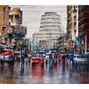 Sarfraz Musawir, Shaheen Complex Karachi, Watercolor, 15x17 Inch, Cityscape Painting