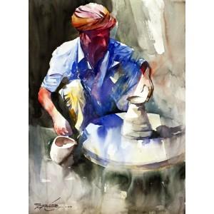 Sarfraz Musawir, Potter, Watercolor, 22x30 Inch, Cityscape Painting, AC-SAR-058(EXB-034)