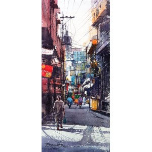 Sarfraz Musawir, Walled City Lahore VIII, Watercolor, 10x22 Inch, Cityscape Painting