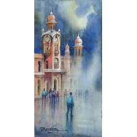 Sarfraz Musawir, Ghanta Ghar Multan, Watercolor , 07x15 Inch, Cityscape  Painting