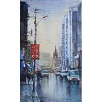 Sarfraz Musawir, Watercolor on Paper, 9x15 Inch, Cityscape Painting, AC-SAR-060