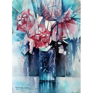 Sarfraz Musawir, Watercolor on Paper, 11x15 Inch, Floral Painting, AC-SAR-066