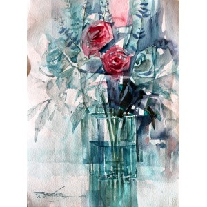 Sarfraz Musawir, Watercolor on Paper, 11x15 Inch, Floral Painting, AC-SAR-071