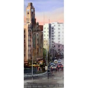 Sarfraz Musawir,  EFU General Building Tower Karachi, Watercolor on Paper, 10x22 Inch, Cityscape Painting, AC-SAR-072