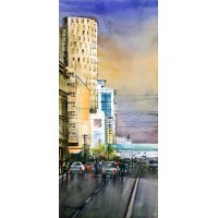 Sarfraz Musawir, Habib Bank Karachi II, Watercolor on Paper, 10 x 22 Inch, Cityscape Painting, AC-SAR-073