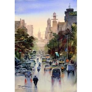 Sarfraz Musawir, Bandar Road Karachi, Watercolor on Paper, 15x22 Inch, Cityscape Painting, AC-SAR-074