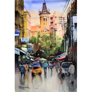 Sarfraz Musawir, Empress Market Karachi IV, Watercolor on Paper, 15x22 Inch, Cityscape Painting, AC-SAR-075