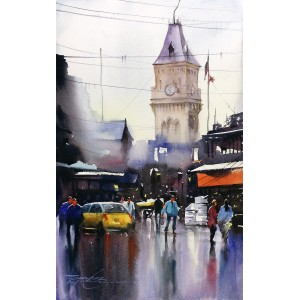 Sarfraz Musawir, Express Tower- Karachi,  09 x15 Inch, Watercolor on Paper, Cityscape Painting, AC-SAR-084