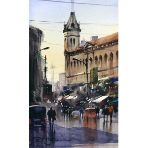 Sarfraz Musawir, Denso Hall-Karachi, 09 x15 Inch, Watercolor on Paper, Cityscape Painting, AC-SAR-085