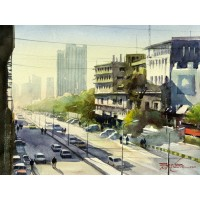 Sarfraz Musawir, 11 x15 Inch, Watercolor on Paper, Cityscape Painting, AC-SAR-077