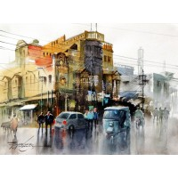 Sarfraz Musawir, 11 x15 Inch, Watercolor on Paper, Cityscape Painting, AC-SAR-078