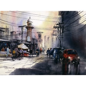 Sarfraz Musawir, Walled City-Lahore, 11 x15 Inch, Watercolor on Paper, Cityscape Painting, AC-SAR-086