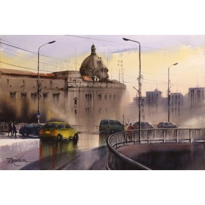 Sarfraz Musawir, KPT-KArachi, 15 x 22 Inch, Watercolor on Paper, Cityscape Painting, AC-SAR-092