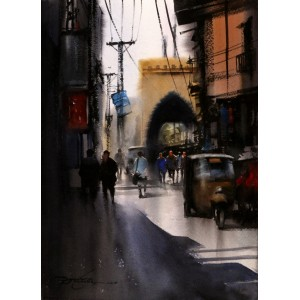 Sarfraz Musawir, Walled City Lahore, 11 x 15 Inch, Watercolor on Paper, Cityscape Painting, AC-SAR-130