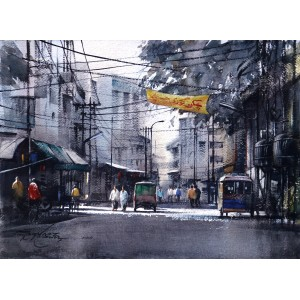 Sarfraz Musawir, Walled City-Lahore III, 11 x15 Inch, Watercolor on Paper, Cityscape Painting, AC-SAR-093