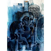 Shaista Momin, Untitled, 30 x 42 Inch, Acrylic on Canvas, Figurative Painting, AC-SHM-007