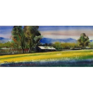 Sarfraz Musawir, 10 x 22 inch, Watercolor on Paper,  Landscape,  Painting, AC-SAR-003